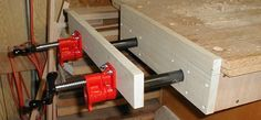 """An inexpensive way to build a """"Moxon vice"""" - bench-mounted broad area clamping device (you could face the jaw surfaces with plate aluminum and use it for clamping metal for welding, etc)"""