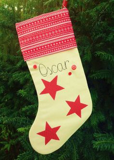 Personalised Christmas Stocking 17 with Name by RaspberryButton