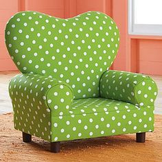 I know this is a kids' chair, but I love it. It's a bright, cheerful green and it's polka dotted! It's a happy chair!