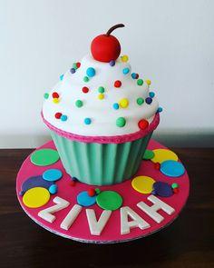 Fondant covered giant cupcake