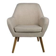 Butaca de diseño nórdico con asiento completamente tapizado y patas de madera en color roble. Nordic Furniture, Tub Chair, Accent Chairs, Armchair, Home Decor, Home, Oak Tree, Mattresses, Home Decoration