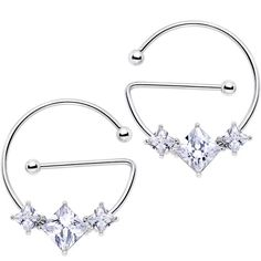 "14 Gauge 5/8"" Clear Gem Glam Trio Universal Nipple Ring Set"