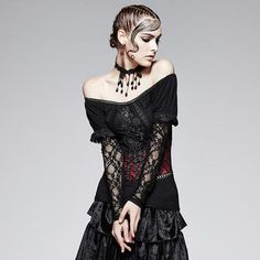 a56ac6d9174f Gothic Two-Wear Sexy Women Off Shoulder Lace T-Shirts Punk Rave, Gothic