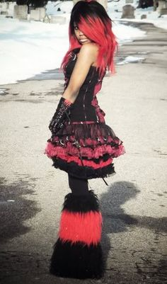 Furry Striped Leg Warmers Black Red Cyber Rave Goth EMO