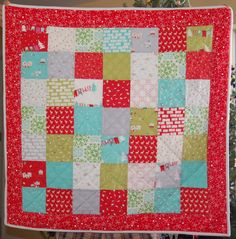 Christmas snuggle quilt for Miss A with flannel backing & bias edging! Sewn by Donna Adams Conklin