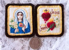 Embroidered+Brown+Scapular+Immaculate+Mary+by+StellaMarigoldArt,+$90.00