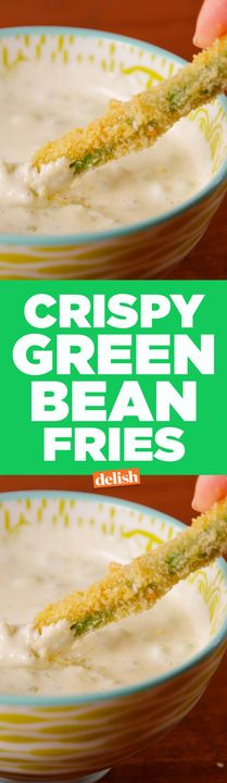 These Crispy Green Bean Fries will remind you of your favorite TGI Friday's app. Get the recipe from Delish.com. Crispy Green Beans, Baked Green Beans, Air Fried Green Beans, Green Bean Fries, Beans Fry Recipe, Kids Cooking Party, Tgi Fridays, Veggie Snacks, Healthy Superbowl Snacks