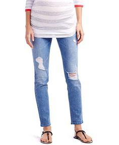 Jessica Simpson Maternity Distressed Skinny Jeans, Light Wash