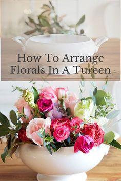 White Ironstone Tureen | How to Arrange Flowers in a Tureen | Shabbyfufu