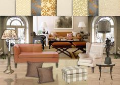In case you were ever considering melon! :) I really like the chaise shape and selections of wallpaper Living Room, White Bedroom Set, Living Spaces, Rooms Home Decor, Elegant Living Room, Interior Design Boards, Home Decor, Elegant Living, Room