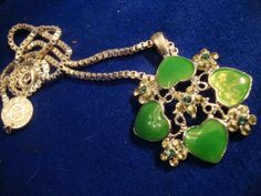 Green enamel and green Rhinestones vintage necklace, from the Vatican.