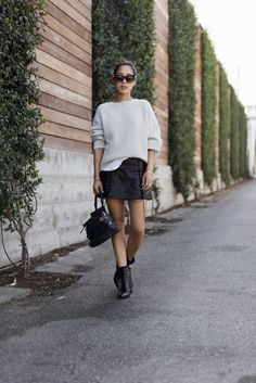 Sweater and Leather Skirt for Fall in LA