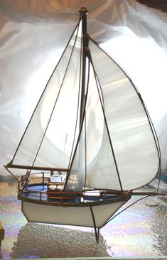 White Medium Stained Glass Model Boat Sloop with Spinnaker