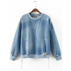 SheIn(sheinside) Blue Ripped Side Zipper Denim Sweatshirt (€29) ❤ liked on Polyvore featuring tops, hoodies, sweatshirts, long sleeve sweatshirt, long sleeve tops, blue pullover, denim sweatshirt and pullover sweatshirt