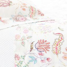 Pine Cone Hill Mirabelle Sheet Set A vintage Italian fabric served as the inspiration for these stunning printed cotton sheets in shades of pink, red, blue, and green.
