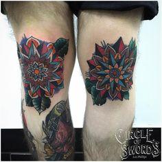Colourful mandala knee tattoos by Loz Phillips.