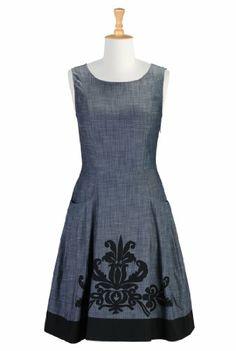 eShakti Women's Art Deco embellished chambray dress 5X-32W Tall Indigo/black eShakti,http://www.amazon.com/dp/B00FC5WRFE/ref=cm_sw_r_pi_dp_oVnYsb0K5CBE1F89