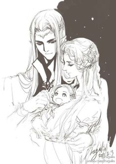 Thranduil with his wife and little Leggy