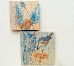 Cross Stitch Wall Clock Painting Bird Poppy Flowers by stedi, €149.00