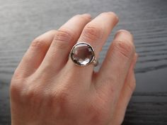 Green Amethyst Ring in Recycled 14k Yellow Gold and Sterling