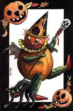 halloween gourds   Halloween Collectibles and Folk Art - Matthew Kirscht's The Clown ...