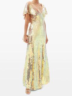 Bardot sequinned dress | Temperley London | MATCHESFASHION UK Temperley, Red Carpet Dresses, Pink Satin, Gold Dress, Bardot, Special Occasion Dresses, Formal Wear, Cold Shoulder Dress, Chiffon