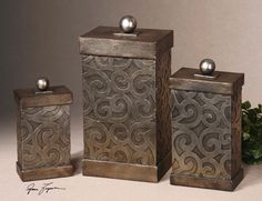 Uttermost Nera Metal Decorative Boxes. Hand forged and hand embossed metal finished in antiqued silver leaf. Removable lids. Sm-5x9x3, Med-6x11x4, Lg-7x15x5