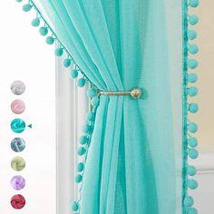 Bathroom Window Curtains, Window Sheers, White Sheer Curtains, Pom Pom Curtains, Net Curtains, Blue Curtains, Boho Teen Bedroom, Turquoise Curtains, Light Blocking Curtains