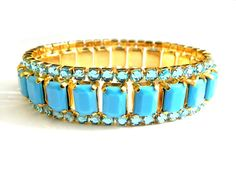 Turquoise Blue 1950s Expansion Bracelet. Gorgeous Color, Mirrored Rhinestones, Glass and Quality Construction make this Expansion Bracelet
