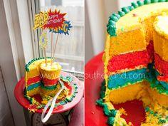SuperHero Birthday Cake - surprisingly easy to make and KILLER CUTE!