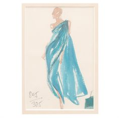 Halston Fashion Illustration by Joe Eula, Martha Graham estate | From a collection of rare vintage decorative objects at https://www.1stdibs.com/fashion/ephemera/decorative-objects/