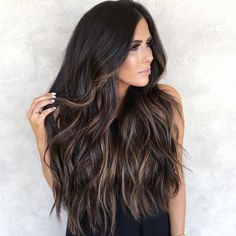 Brunette Balayage for Thick Hair - 50 Cute Long Layered Haircuts with Bangs 2019 - The Trending Hairstyle Brown Hair With Blonde Highlights, Brown Hair Balayage, Balayage Brunette, Hair Color Balayage, Hair Highlights, Ombre Hair, Dark Hair With Lowlights, Dark Balayage, Long Brunette Hair
