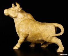 "7.9 "" Finely Carved Yellow Agate Bull Sculpture, Stone origin : Brazil.  via rikoo.com"