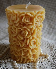 Beeswax Candle Rose Covered Pillar Candle by PeaceBlossomCandles