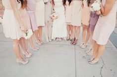 Former pinner wrote:  Bridesmaids shoe ideas. I like all of these shoes seen in the picture, minus the strappy dark brown ones. Hopefully this gives you all some ideas. Find a shoe in the nude color palate (either a nice wedge or heel) no flats. As far as the heel height go as tall as you want, just no flats. I would try finding a nude pump/wedge @ Aldo, Steve Madden or Nordstrom.