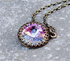 Crown Victorian Necklace - Swarovski Crystal in Antiqued Brass