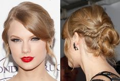 begin by tightly braiding one-inch sections of hair directly behind each ear and securing the ends. Next, section out bangs and draw out a few face-framing strands. The rest of the hair is then loosely pulled back into a ponytail at the nape of the neck, twisted, wrapped into a bun and secured with u-shaped hair pins. After the bun is in place, wind braids around it and pin the ends. Style the bangs by sweeping them across the forehead and misting with hairspray. To finish off the look, curl…