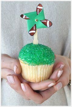 Super Bowl football cupcake toppers #diy #camillestyles #pinwheel
