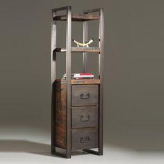 Colonne de rangement en bois et métal (Teck recyclé) 3 tiroirs I