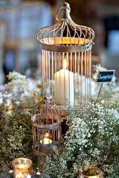Top 11 Wedding Bird Cage Ideas - save on crafts Top 11 Wedding Bird Cage Ideas - save on crafts Bird Cage Centerpiece, Candle Centerpieces, Candle Lanterns, Centerpiece Flowers, Centerpiece Ideas, Flower Arrangements, Vintage Wedding Centerpieces, Wedding Decorations, Vintage Candles