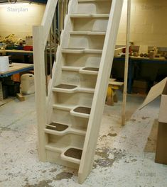 4 Timely ideas: Attic Roof Layout attic shelves under stairs.Old Attic Victorian attic storage bedroom.Attic Wardrobe Walk In. Space Saver Staircase, Loft Staircase, Staircase Design, Stairs, Spiral Staircases, Staircase For Small Spaces, Modular Staircase, Attic Apartment, Attic Rooms
