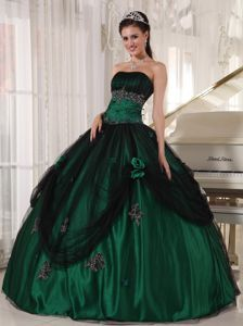 Green Beaded Taffeta And Tulle Dress For Quinceanera with Appliques