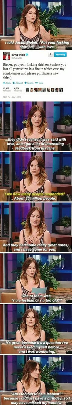 LOL!! Olivia Wilde is great! This Pin was discovered by Amanda D. Discover (and save!) your own Pins on Pinterest.