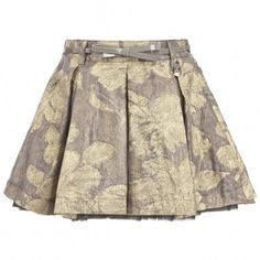 Miss Blumarine Metallic Gold Skirt with Belt at Childrensalon.com