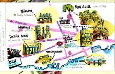 Coloured sketchnote BCN visit points Sketch Notes, Me On A Map, Maps, How To Draw Hands, Wedding Invitations, Books, Color, Libros, Blue Prints