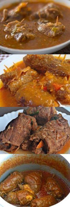 Steak Roll With Sauce - bife a role - Pastel de Tortilla Grilling Recipes, Beef Recipes, Mexican Food Recipes, Dinner Recipes, Le Croissant, Steak Rolls, Carne Asada, Portuguese Recipes, Cordon Bleu