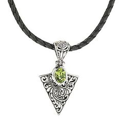 """Artisan Silver by Samuel B. 20"""" Gemstone Balinese Leather Cord Necklace"""