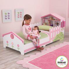 Kinderbett Mädchen rosa mit Puppenhaus Kidkraft Bett Kinderbett Holz 76255