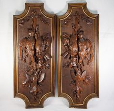 "I would have to paint this - same color as cabinet? Superb Pair Antique Black Forest Carved Game Bird Plaques, 29"" x 11.5"", Exellent, 6 birds, Acorn & Oak Leaf"