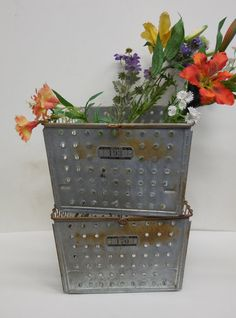 2 Vintage Metal baskets Industrial shelf Gym Tool by SalvageRelics